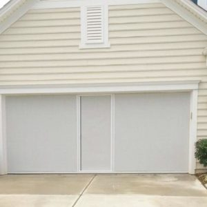 Lifestyle White & Black Privacy Super Screen With Center Door 6′-18′ X 8′