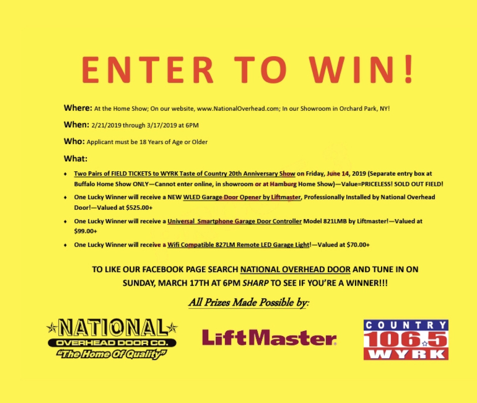 Buffalo Home Show Contest And Deals National Overhead Door